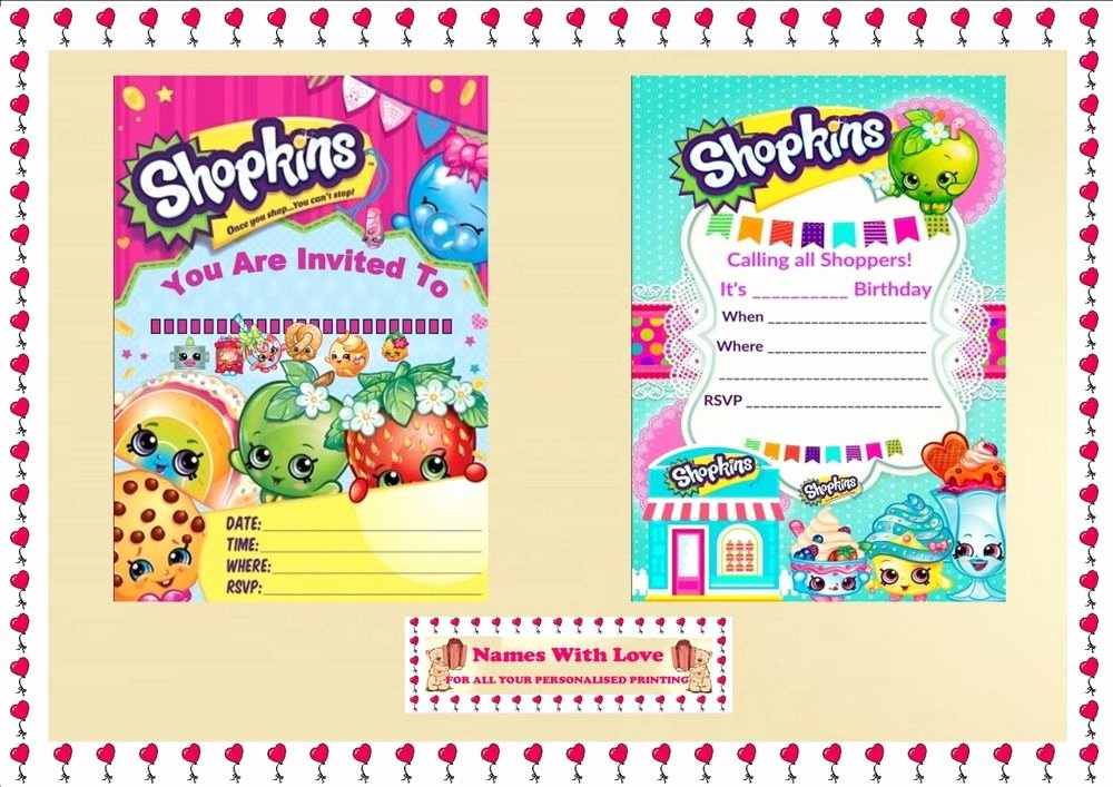 Shopkins Invitations Template Free Fresh Blank Shopkins Invitations Birthday Party Blank X 10