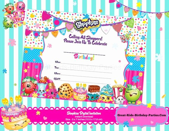 Shopkins Invitations Template Free Fresh Shopkins Blank Invitations Shopkins Invitations Shopkins