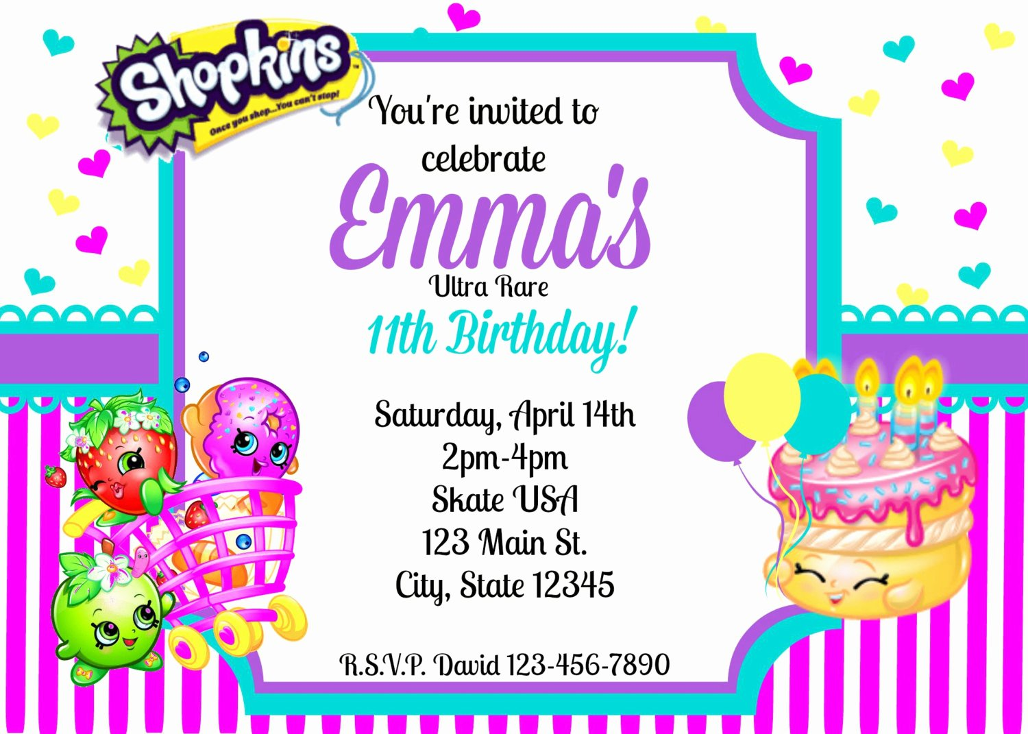 Shopkins Invitations Template Free Inspirational Shopkins Invitation Shopkins Party Invitation by