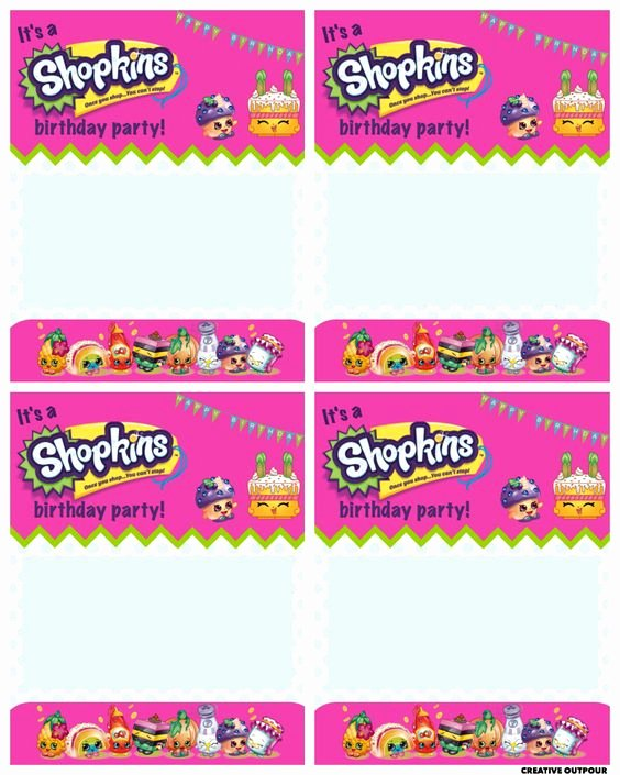 Shopkins Invitations Template Free Lovely A Shopkins Birthday Party Creative Outpour