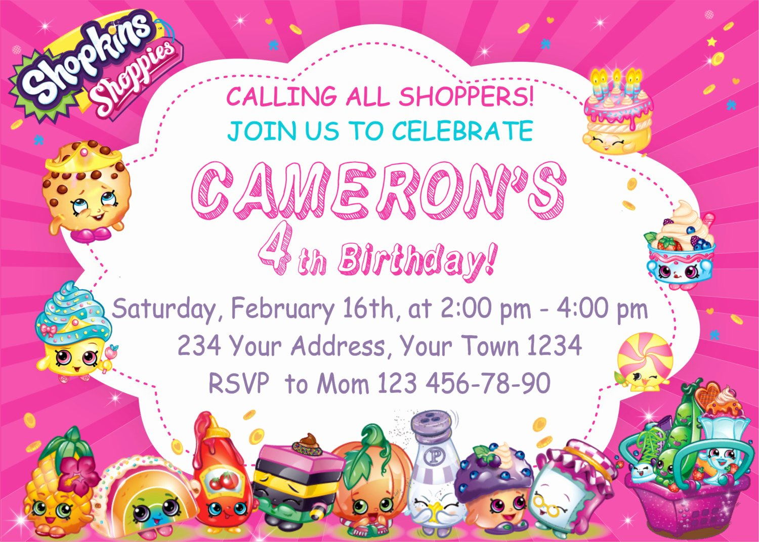 Shopkins Invitations Template Free Luxury Shopkins Birthday Party Invitations Shopkins by