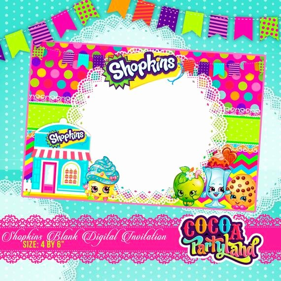 Shopkins Invitations Template Free New Shopkins Blank Digital Invitation Printable by Cocoaparty