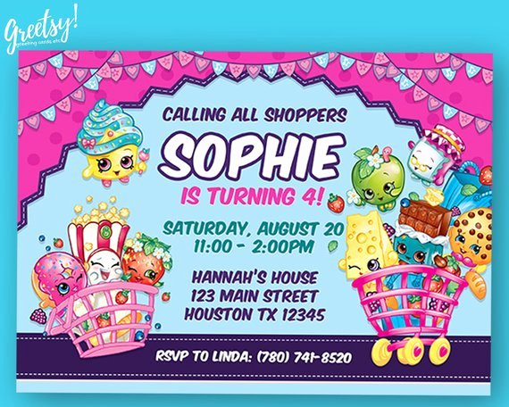 Shopkins Invitations Template Free New Shopkins Invitation Shopkins Birthday Shopkins Party