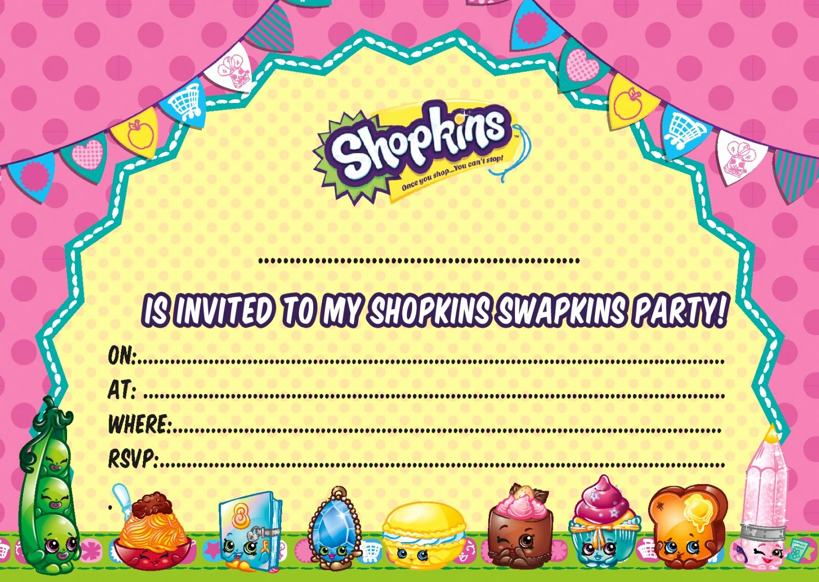 free printable shopkins birthday invitation template