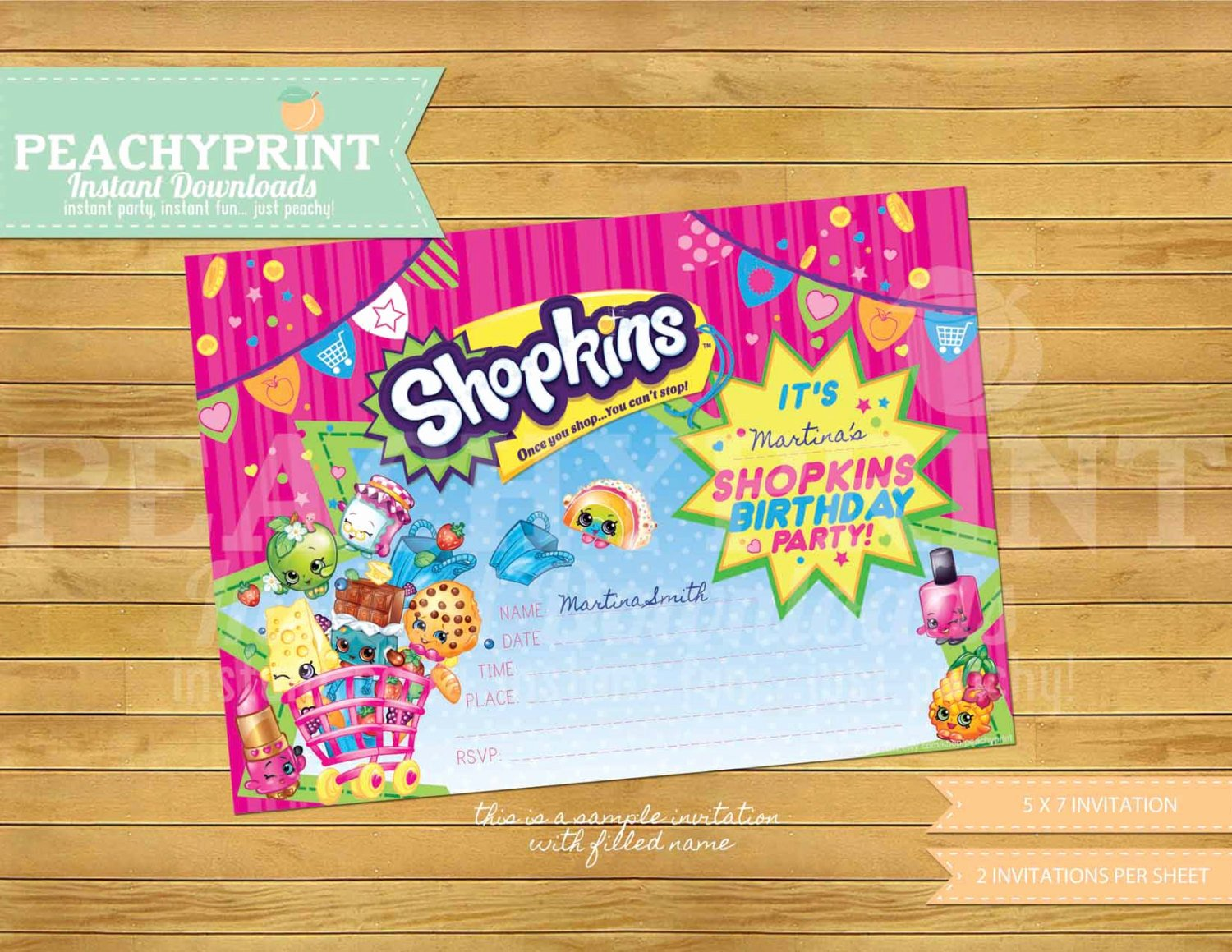 Shopkins Invitations Template Free Unique Shopkins Birthday Invitation Instant Download
