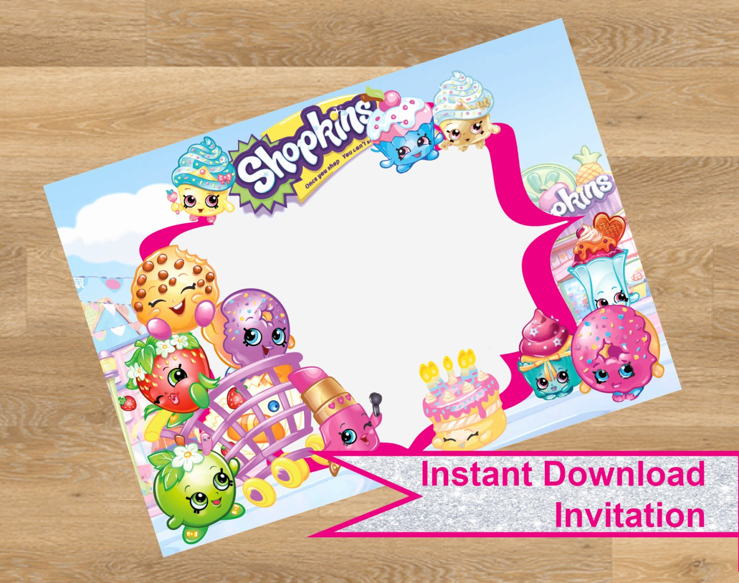 Shopkins Invitations Template Free Unique Shopkins Invitation Shopkins Birthday by Designmadedesigns