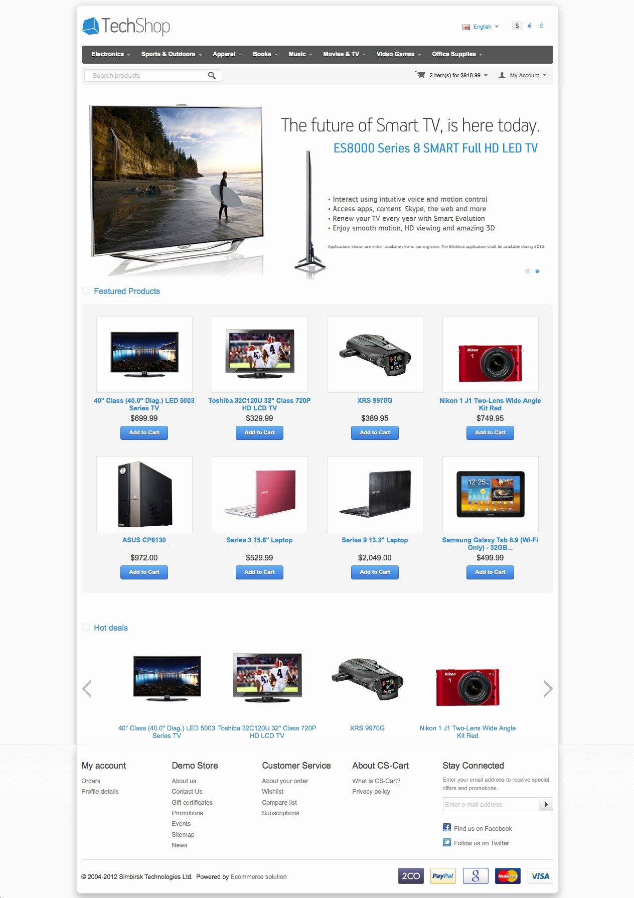 Shopping Cart HTML Template Lovely Cs Cart 4 Tech Shop Template