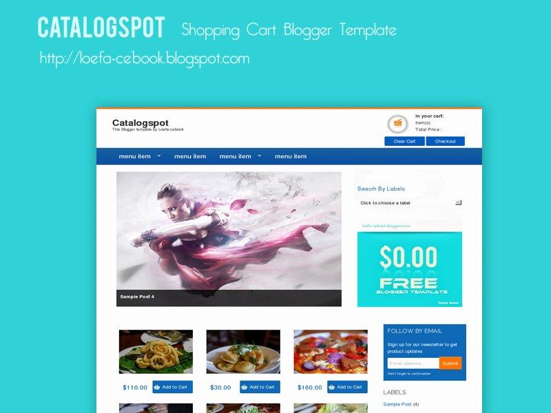 Shopping Cart HTML Template New Catalogspot Shopping Cart Blogger Template