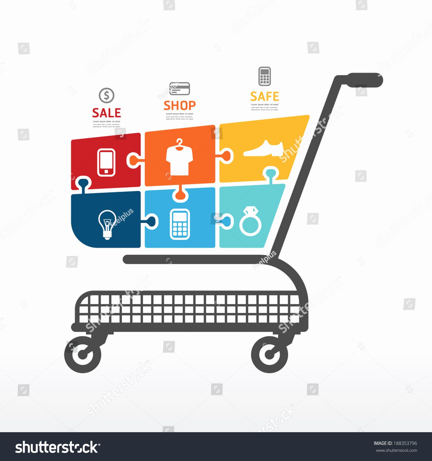 Shopping Cart HTML Template New Infographic Template with Shopping Cart Jigsaw Banner