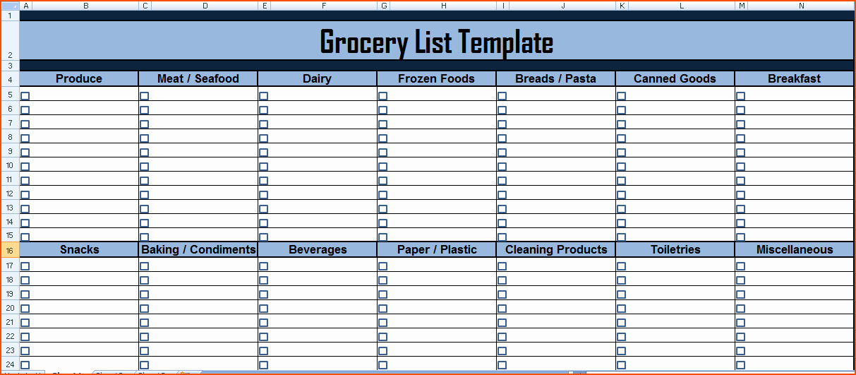 Shopping List Template Excel Best Of 7 Grocery List Excel Bookletemplate