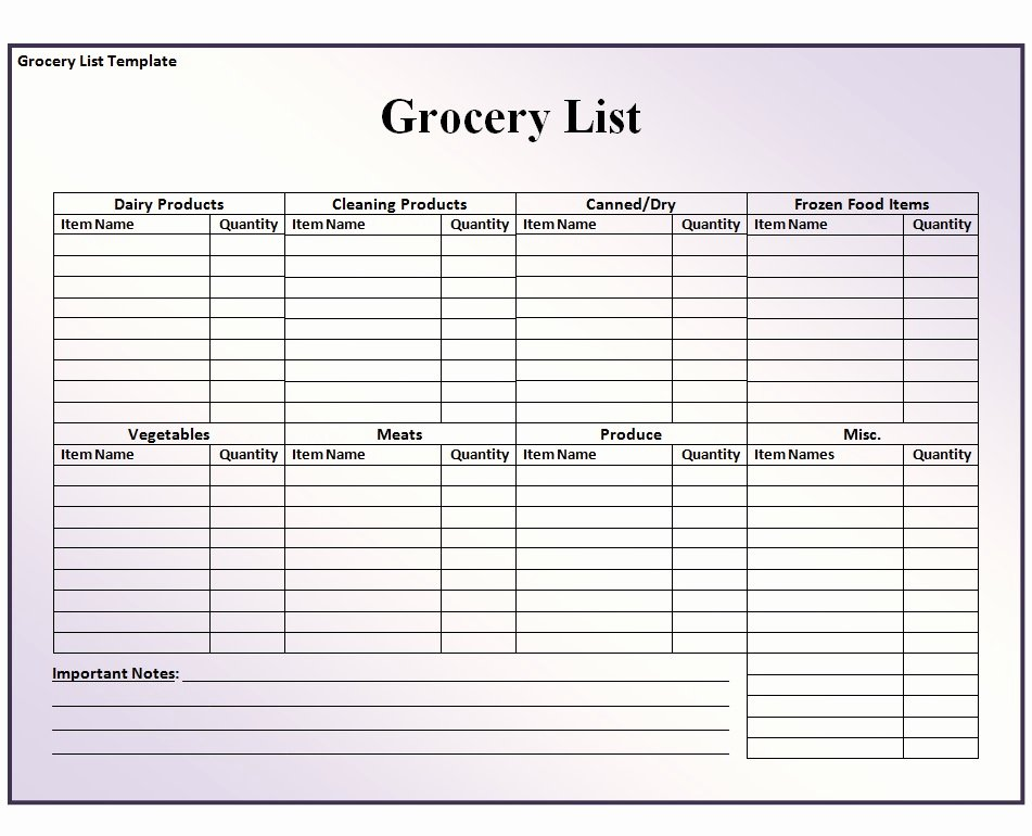 Shopping List Template Excel Best Of Grocery List Template Free formats Excel Word