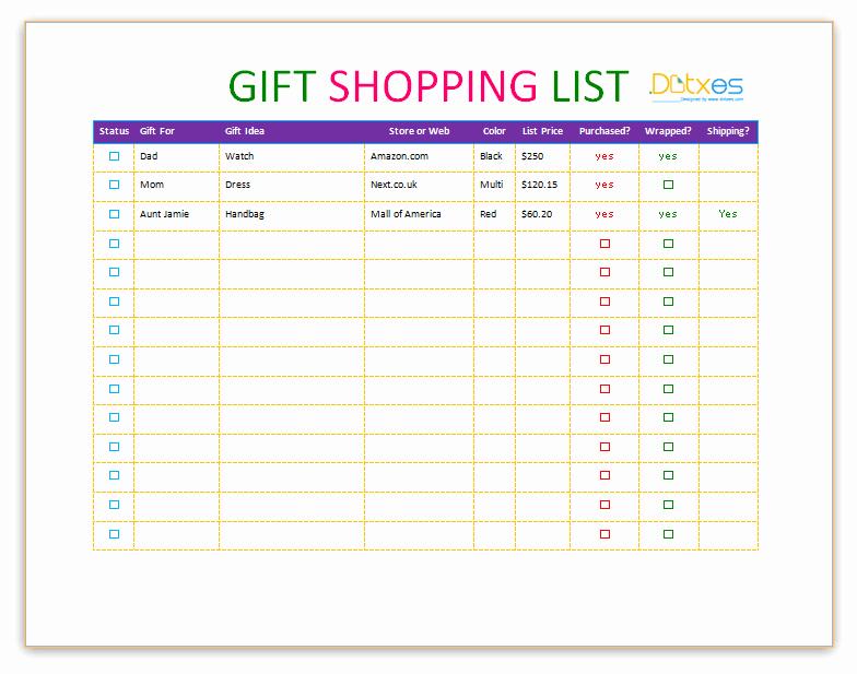 Shopping List Template Excel Fresh Gift Shopping List Template Dotxes