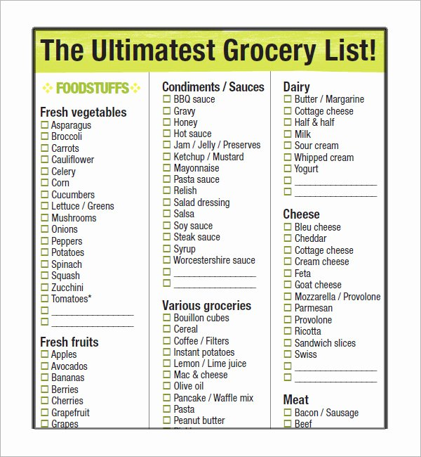 Shopping List Template Excel Inspirational 10 Free Printable Grocery List Templates