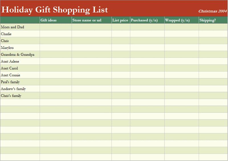 Shopping List Template Excel Inspirational 7 Shopping List Templates