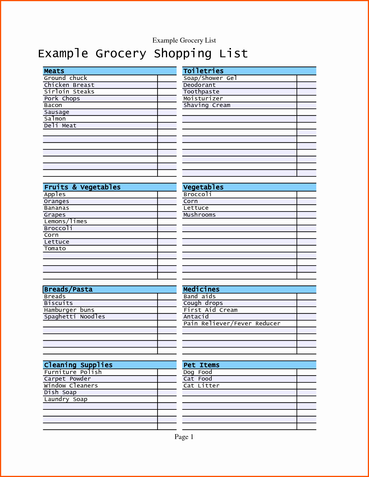 Shopping List Template Excel Inspirational Grocery Checklist Template Portablegasgrillweber