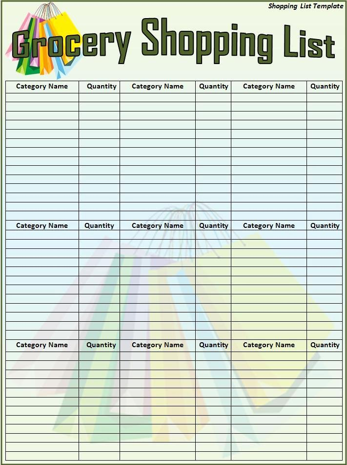 Shopping List Template Excel Lovely 6 Free Shopping List Templates Excel Pdf formats