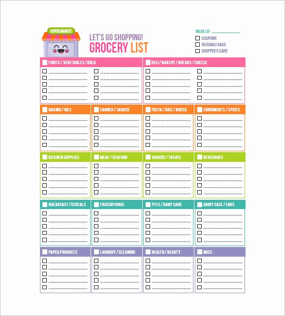 Shopping List Template Excel Luxury 10 Blank Grocery List Templates Pdf Doc Xls