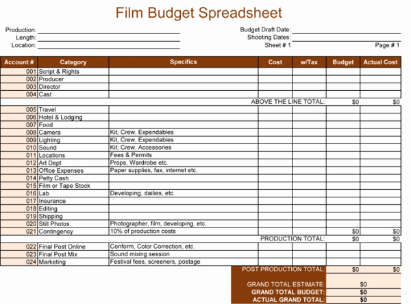 Short Film Budget Template Awesome Bud Template for Excel 5 Spreadsheets