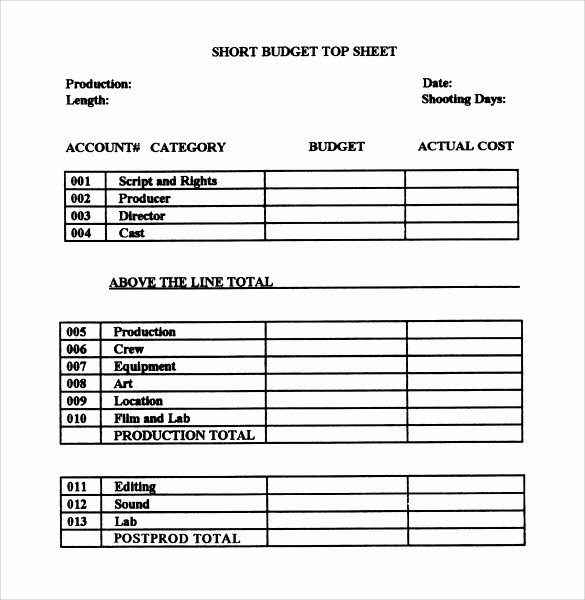 Short Film Budget Template Lovely 9 Bud Samples