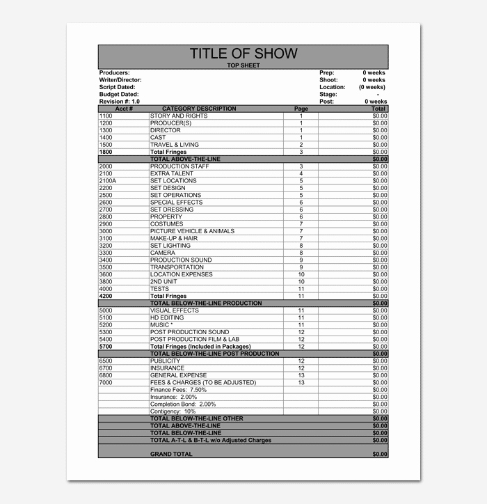 Short Film Budget Template New Bud Template 10 for Excel Sheet & Pdf format