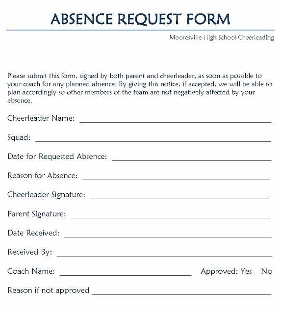 Sick Leave form Template Awesome Leave Request form Project Management