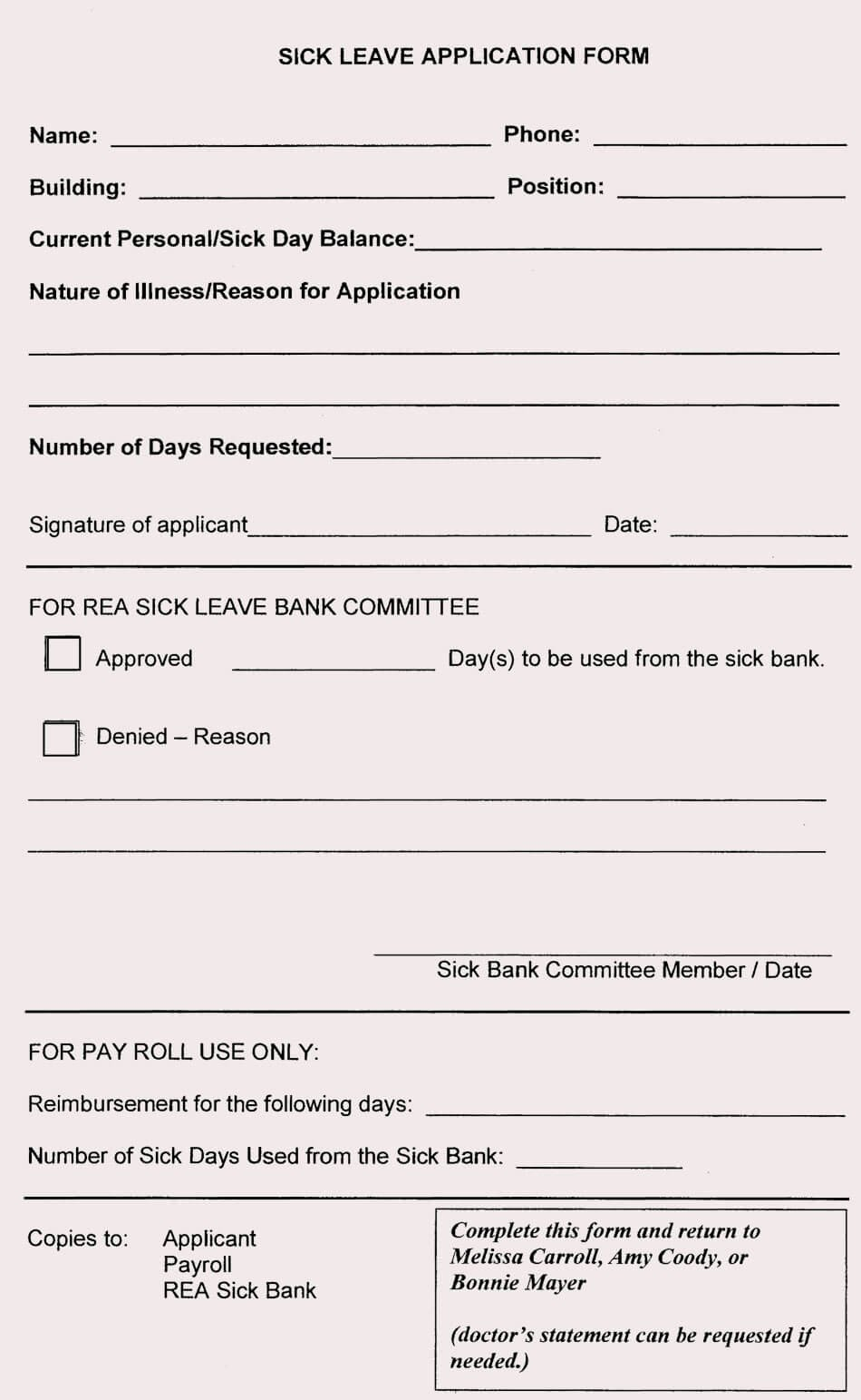 Sick Leave form Template Beautiful Blank Leave Application form Templates 8 Pdf Samples