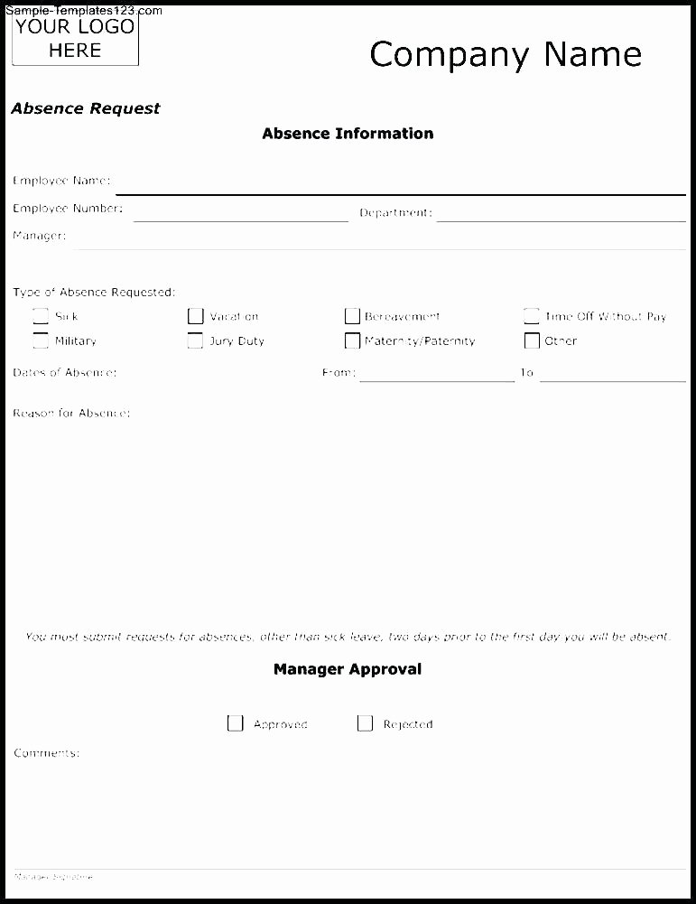 Sick Leave form Template Beautiful Employee Leave form Template – Ddmoon