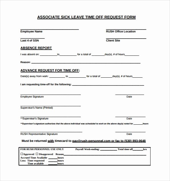 Sick Leave form Template Elegant 24 Time F Request forms to Download