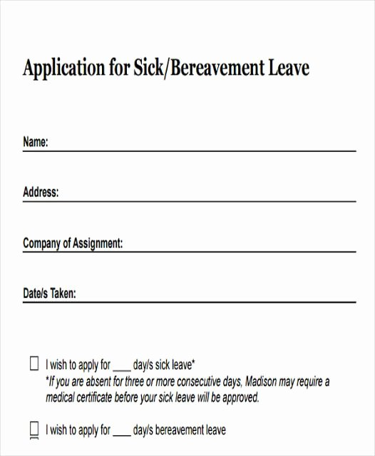 Sick Leave form Template Elegant Annual Leave Application form Template Leaves Application
