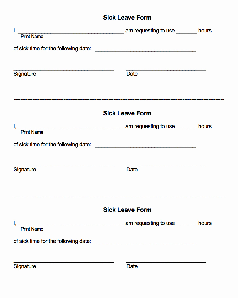 Sick Leave form Template Elegant Employee forms Excel Personnel Services