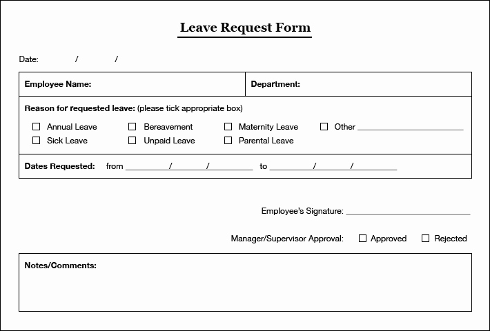 Sick Leave form Template Elegant Simple Leaves Application form Template Excel Template