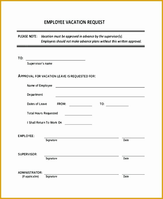 Sick Leave form Template Inspirational New Request form Template Vacation Time and Sick