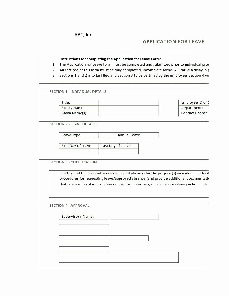 Sick Leave form Template Luxury Employee Leave form Template – Ddmoon