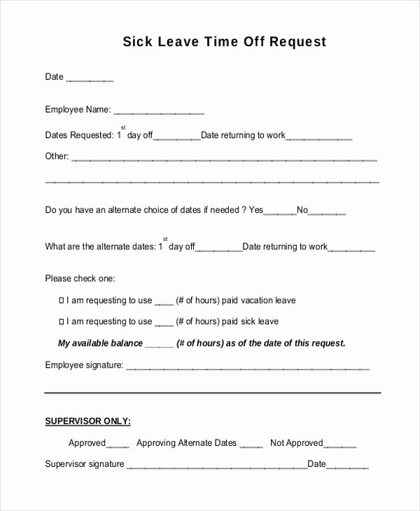 Sick Leave form Template Unique Sick Leave form Bing Images