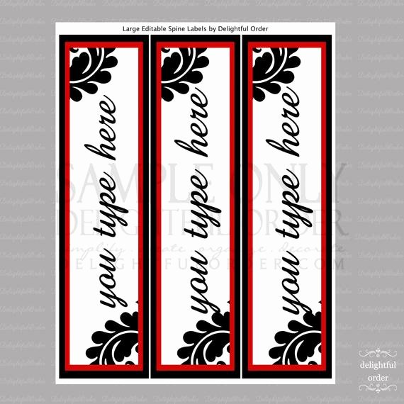 Side Of Binder Template Unique Editable and Printable Spine Labels Instant Digital