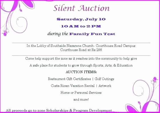 Silent Auction Certificate Template Awesome event Silent Auction Bid Sheet Item Description Template