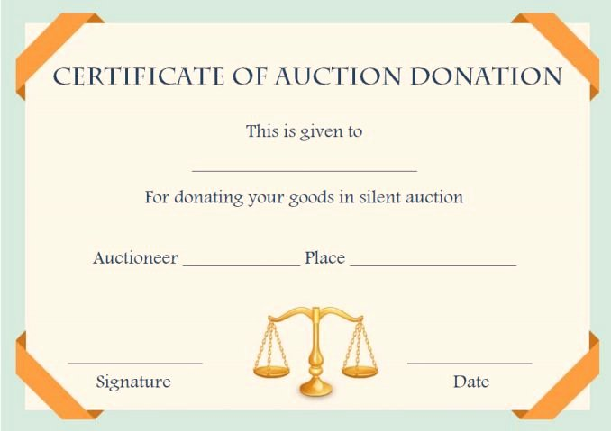 Silent Auction Certificate Template Awesome Silent Auction Certificates 18 Ficial and Beautiful