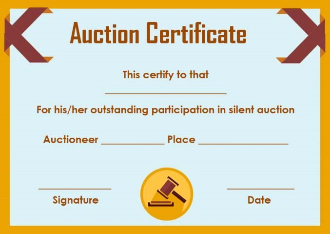 Silent Auction Certificate Template Beautiful Silent Auction Certificates 18 Ficial and Beautiful