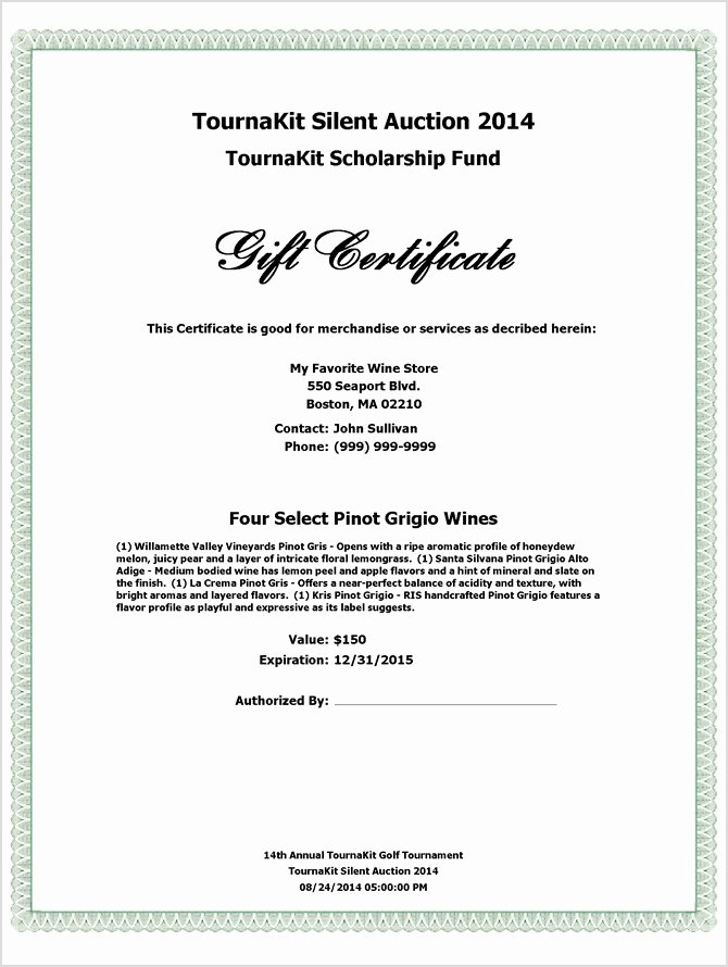 Silent Auction Certificate Template Elegant Auction Award Certificate Template Silent Auction