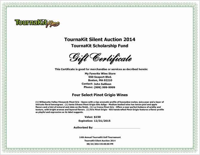 Silent Auction Certificate Template Fresh Charity Auction forms 108 Silent Auction Bid