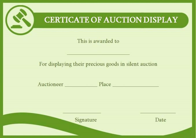 Silent Auction Certificate Template Luxury Silent Auction Certificates 18 Ficial and Beautiful