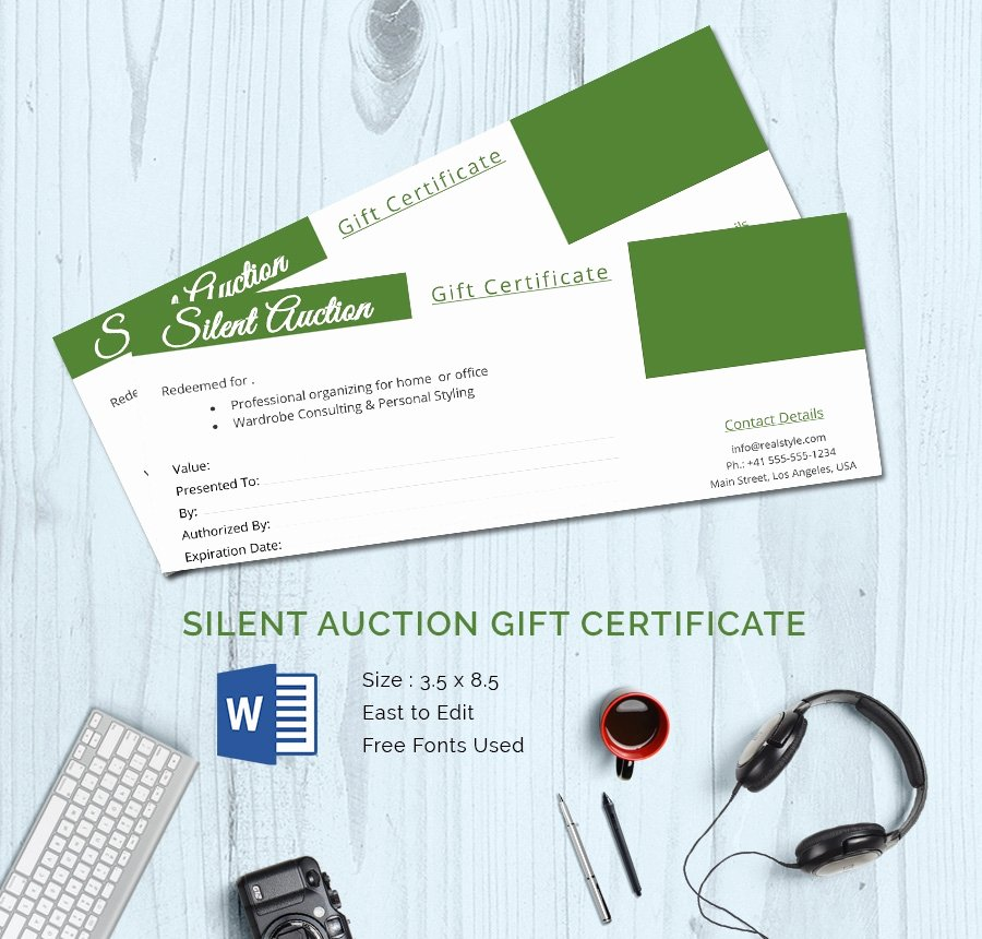 Silent Auction Certificate Template New 15 Certificate Templates