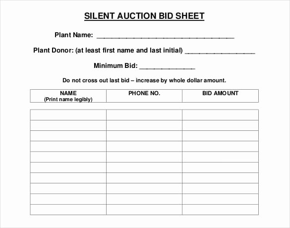 Silent Auction Certificate Template New 5 Auction Bid Sheets Templates formats Examples In Word