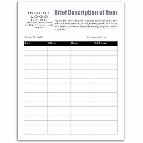 Silent Auction Display Template Best Of Fotos the format Silent Auction Item Bid Sheet by Bid