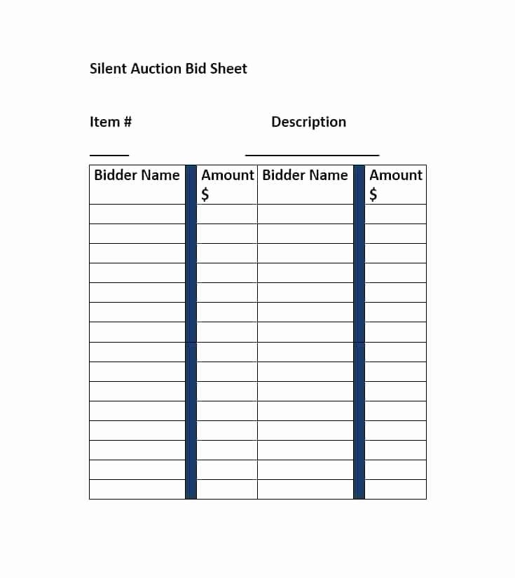 Silent Auction Display Template Elegant event Silent Auction Bid Sheet Item Description Template