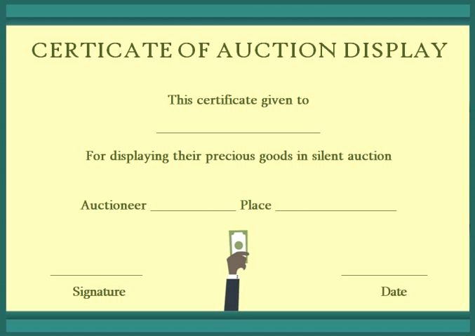 Silent Auction Display Template Lovely Silent Auction Certificates 18 Ficial and Beautiful