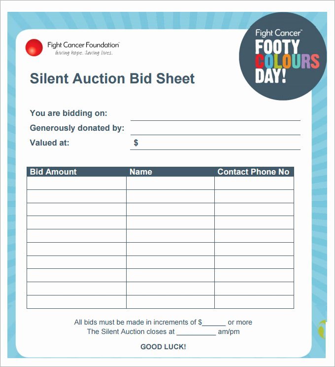Silent Auction Sheet Template Beautiful 20 Silent Auction Bid Sheet Templates & Samples Doc