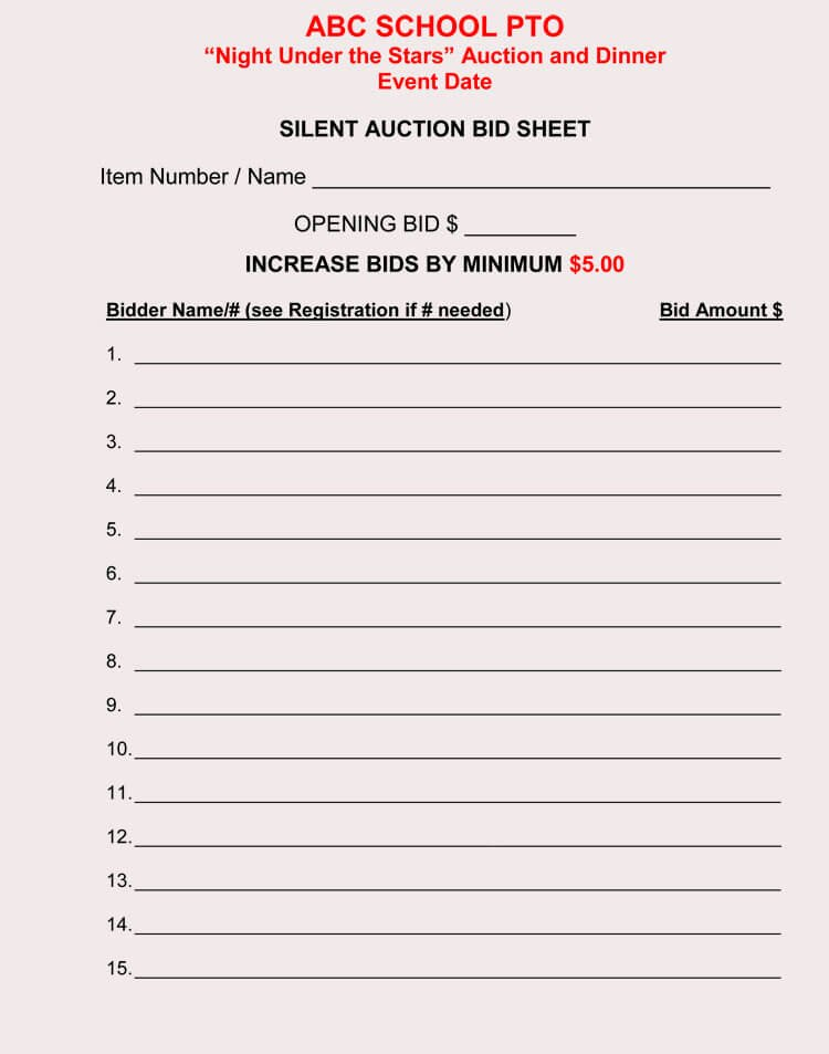 Silent Auction Sheet Template Beautiful Bid Sheet Templates for Silent Auction In Word Excel