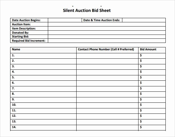 Silent Auction Sheet Template Best Of 20 Sample Silent Auction Bid Sheet Templates to Download