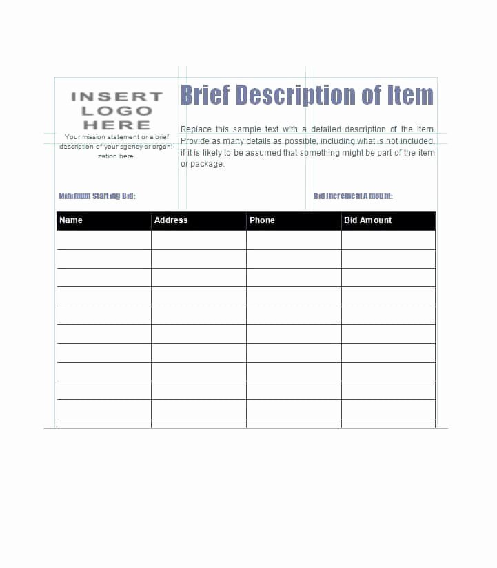 Silent Auction Sheet Template Best Of 40 Silent Auction Bid Sheet Templates [word Excel]
